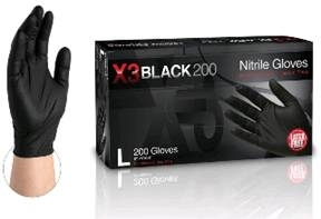 AMMEX GloveWorks, X3 black 200 BLACK Powder free industrial grade nitrile gloves Extra large