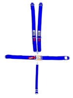 CROW ENTERPRIZES Harness, 5 Point, Latch and Link, SFI 16.1, 55 in Length, Pull Down Adjust, Bolt-On / Wrap Around, Individual Harness, Blue, Kit