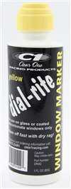 CLEAR ONE Dial-In Marker - Dial-Rite - Window - Yellow - Safe on Glass / Polycarbonate / Rubber - 3 oz Bottle / Applicator - Each # DRM2