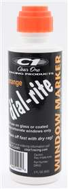 CLEAR ONE Dial-In Marker - Dial-Rite - Window - Orange - Safe on Glass / Polycarbonate / Rubber - 3 oz Bottle / Applicator - Each # DRM3