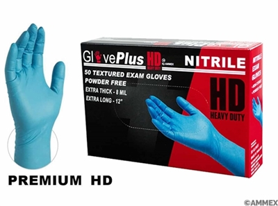 AMMEX Gloveplus, Xtra Long Xtra Thick Nitirle Gloves GPNHD 8 mil - Medium
