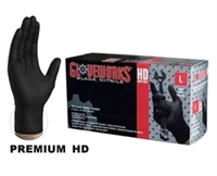 AMMEX GloveWorks, HD PF Black Nitrile Gloves with Diamond Textured Palm, 6 mil, Size Med