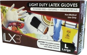 AMMEX Light Duty Latex Disposable Gloves LX3 3mil - Large - Case of 1000