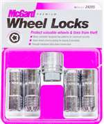 MCGARD Wheel Lock - Premium - 14 mm x 2.00 Thread - Cone Seat - Closed End - Key Included - Steel - Chrome - Set of 4 # 24205