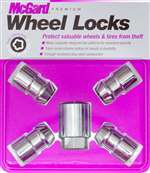 MCGARD Wheel Lock - Premium - 9/16-18 in Thread - Cone Seat - Closed End - Key Included - Steel - Chrome - Set of 4 # 24234