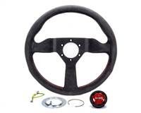 MOMO AUTOMOTIVE ACCESSORIES Steering Wheel - Monte Carlo - 320 mm Diameter - 3 Spoke - 40 mm Dish - Black / Red Leather Grip - Aluminum - Black Anodize - Each # MCL32AL3B