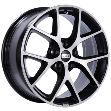 BBS SR 18x8 5x112 ET45 Satin Black Diamond Cut Face Wheel -82mm PFS/Clip Required # SR016VGPK