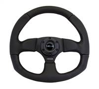 NRG Reinforced Steering Wheel (320mm Horizontal / 330mm Vertical) Leather w/Black Stitching # RST-009R