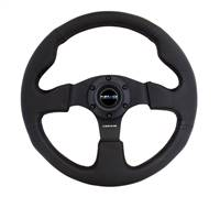 NRG Reinforced Steering Wheel (320mm) Black Leather w/Black Stitching # RST-012R