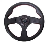 NRG Reinforced Steering Wheel (320mm) Leather w/Red Stitch # RST-012R-RS