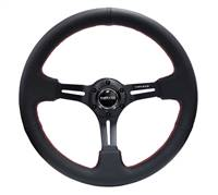 NRG Reinforced Steering Wheel (350mm / 3in. Deep) Black Leather/Red Stitch & Blk 3-Spoke w/Slits # RST-018R-RS