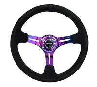 NRG Reinforced Steering Wheel (350mm / 3in. Deep) Blk Suede/Blk Stitch w/Neochrome Slits # RST-018S-MCBS