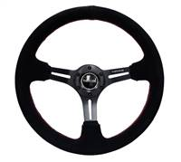 NRG Reinforced Steering Wheel (350mm / 3in. Deep) Blk Suede w/Red Stitching & 5mm Spokes w/Slits # RST-018S-RS