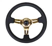 NRG Sport Steering Wheel (350mm / 3in. Deep) Blk Leather/Green Stitch & Chrome Gold 3-Spoke Center # ST-055R-CGGS