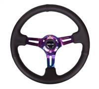 NRG Sport Steering Wheel (350mm / 3in. Deep) Blk Leather/Green Stitching & Neochrome 3-Spoke Center # ST-055R-MCGS