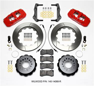 Wilwood AERO4 Rear Kit 14.25in Red 2014-Up Challenger w/Lines # 140-14068-R