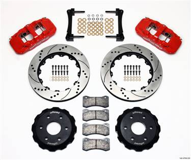 Wilwood AERO6 Front Truck Kit 14.25in Drill Red 1999-2014 GM Truck/SUV 1500 # 140-9789-DR
