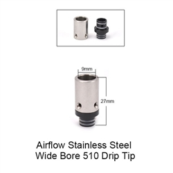 Airflow Stainless Steel Wide Bore Drip Tip