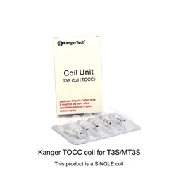 Kanger T3S TOCC (Organic Cotton) Replacement Coil (SINGLE)