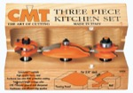 "CMT 800.513.11 Three Piece Kitchen Ogee Raised Panel Router Bit Set With 1/2"" Shank"