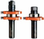 "CMT 800.626.11 1-7/8"" Diameter X 3/4"" Cutting Height 2-Flute Tongue And Groove Router Bit Set With 1"