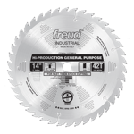 "Freud LU71M014 14"" Diameter X 42T ATB Production General Purpose Carbide-Tipped Saw Blade With 1"" Ar"