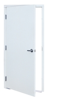 "Apache Commercial Steel Door For Metal Building 3'-0"" x 7'-0"", White Finish; 20 Gauge Door, 8-1/4"" Depth, Includes Hinges, Lock, Latchguard, Threshold, Bottom Sweep and Weatherstrip, Made in USA"