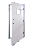 "Flange Frame Door With Deadbolt & 10"" x 10"" Window"