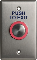 DC USA Approved CM-9600 Series Piezo Push Button, Single Gang, Push To Exit Switch, 12-24Vdc