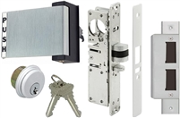 Tahoma Storefront Aluminum Door Deadlatch Lock Kit With Mortise Key Cylinder, Strike Plate, and Push Exit Paddle (Specify Options)