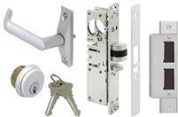Tahoma Storefront Aluminum Door Deadlatch Lock Kit With Mortise Key Cylinder, Strike Plate, and Eurostyle Lever Handle (Specify Options)