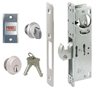 Tahoma Storefront Aluminum Door Hook Bolt Deadlock Kit With Mortise Key Cylinder, Thumbturn, and Lock Indicator (Specify Options)