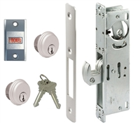 Tahoma Storefront Aluminum Door Hook Bolt Deadlock Kit With (2) Mortise Key Cylinders and Lock Indicator (Specify Options)