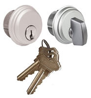 Tahoma Storefront Aluminum Door Lock Outside Mortise Key Cylinder and Inside Thumbturn Cylinder Set (Specify Finish)