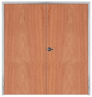 "Lakota Flat Cut African Mahogany Commercial Wood Door Pair and Frame 6'-0"" x 7'-0"" (72"" x 84""), 1-3/4"" Solid Core Door with Steel Frame, Hinges and Lockset, Made In USA (Specify Options)"