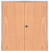 "Lakota Plain Sliced Cherry Commercial Wood Door Pair and Frame 6'-0"" x 7'-0"" (72"" x 84""), 1-3/4"" Solid Core Door with Steel Frame, Hinges and Lockset, Made In USA (Specify Options)"