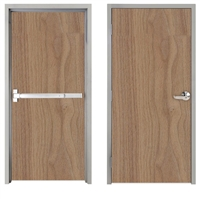 "Lakota Plain Sliced Walnut Commercial Wood Door and Frame 3'-0"" x 7'-0"" (36"" x 84""), 1-3/4"" Solid Core Door with Steel Frame, Hinges and Panic Rated Exit Device With Outside Lever, Made In USA (Specify Options)"