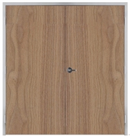 "Lakota Plain Sliced Walnut Commercial Wood Door Pair and Frame 6'-0"" x 7'-0"" (72"" x 84""), 1-3/4"" Solid Core Door with Steel Frame, Hinges and Lockset, Made In USA (Specify Options)"