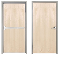 "Lakota Plain Sliced White Birch Commercial Wood Door and Frame 3'-0"" x 7'-0"" (36"" x 84""), 1-3/4"" Solid Core Door with Steel Frame, Hinges and Panic Rated Exit Device With Outside Lever, Made In USA (Specify Options)"