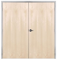 "Lakota Plain Sliced White Birch Commercial Wood Door Pair and Frame 6'-0"" x 7'-0"" (72"" x 84""), 1-3/4"" Solid Core Door with Steel Frame, Hinges and Lockset, Made In USA (Specify Options)"