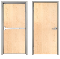 "Lakota Plain Sliced White Maple Commercial Wood Door and Frame 3'-0"" x 7'-0"" (36"" x 84""), 1-3/4"" Solid Core Door with Steel Frame, Hinges and Panic Rated Exit Device With Outside Lever, Made In USA (Specify Options)"