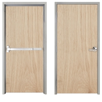 "Lakota Plain Sliced White Oak Commercial Wood Door and Frame 3'-0"" x 7'-0"" (36"" x 84""), 1-3/4"" Solid Core Door with Steel Frame, Hinges and Panic Rated Exit Device With Outside Lever, Made In USA (Specify Options)"