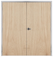 "Lakota Plain Sliced White Oak Commercial Wood Door Pair and Frame 6'-0"" x 7'-0"" (72"" x 84""), 1-3/4"" Solid Core Door with Steel Frame, Hinges and Lockset, Made In USA (Specify Options)"