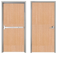 "Lakota Rift Red Oak Commercial Wood Door and Frame 3'-0"" x 7'-0"" (36"" x 84""), 1-3/4"" Solid Core Door with Steel Frame, Hinges and Panic Rated Exit Device With Outside Lever, Made In USA (Specify Options)"