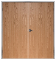 "Lakota Plain Sliced Red Oak Commercial Wood Door Pair and Frame 6'-0"" x 6'-8"" (72"" x 80""), 1-3/4"" Solid Core Door with Steel Frame, Hinges and Lockset, Made In USA (Specify Options)"
