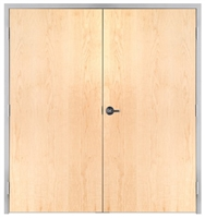 "Lakota Plain Sliced White Maple Commercial Wood Door Pair and Frame 6'-0"" x 7'-0"" (72"" x 84""), 1-3/4"" Solid Core Door with Steel Frame, Hinges and Lockset, Made In USA (Specify Options)"