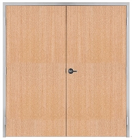"Lakota Rift Red Oak Commercial Wood Door Pair and Frame 6'-0"" x 7'-0"" (72"" x 84""), 1-3/4"" Solid Core Door with Steel Frame, Hinges and Lockset, Made In USA (Specify Options)"