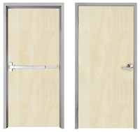 "Lakota Rotary White Birch Commercial Wood Door and Frame 3'-0"" x 6'-8"" (36"" x 80""), 1-3/4"" Solid Core Door with Steel Frame, Hinges and Panic Rated Exit Device With Outside Lever, Made In USA (Specify Options)"