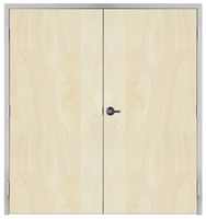 "Lakota Rotary White Birch Commercial Wood Door Pair and Frame 6'-0"" x 6'-8"" (72"" x 80""), 1-3/4"" Solid Core Door with Steel Frame, Hinges and Lockset, Made In USA (Specify Options)"