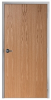 "Lakota Plain Sliced Red Oak Commercial Wood Door and Frame 2'-8"" x 7'-0"" (32"" x 84""), 1-3/4"" Solid Core Door with Steel Frame, Hinges and Lockset, Made In USA (Specify Options)"